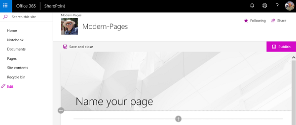Modern Office 365 Site Pages