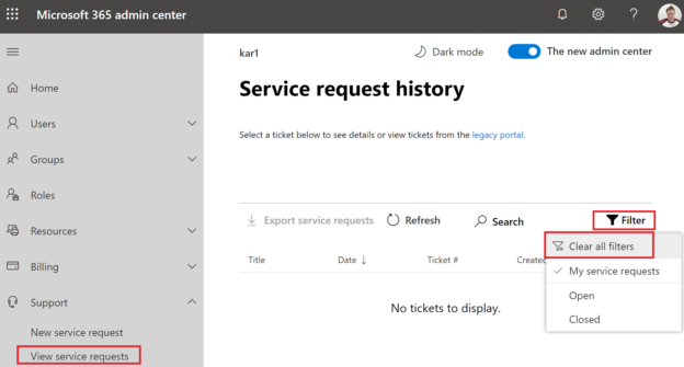 Microsoft Service requests History Filter